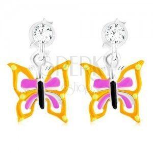 Kolczyki wkręty ze srebra 925, motyl z żółto-fioletowymi skrzydłami, emalia obraz