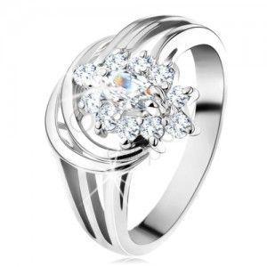 Pierścionek srebrnego koloru, lśniące rozdzielone ramiona, błyszczący kwiat obraz