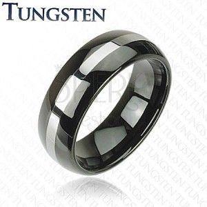 Czarna obrączka Tungsten, pas srebrnego koloru, zaokrąglona powierzchnia, 8 mm obraz