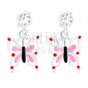 Srebrne 925 kolczyki, emaliowany motyl o biało-różowych skrzydłach, kryształ obraz