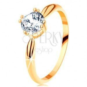 Złoty zaręczynowy pierścionek 585 - zaokrąglone ramiona, błyszcząca okrągła cyrkonia bezbarwnego koloru obraz
