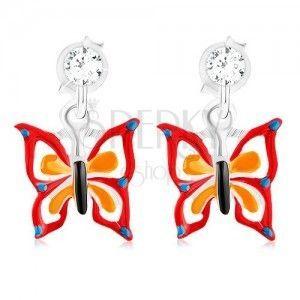 Kolczyki ze srebra 925, motyl w kropki z czerwono-pomarańczową emalią obraz