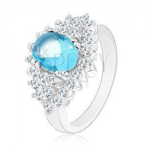 Błyszczący pierścionek z jasnoniebieską owalną cyrkonią, przezroczysta cyrkoniowa oprawa obraz