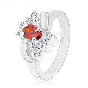 Pierścionek w srebrnym odcieniu, pomarańczowy owal, przezroczyste cyrkonie, lśniące łuki obraz