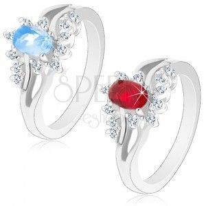 Lśniący pierścionek w srebrnym odcieniu z rozdwojonymi ramionami, wyszlifowane cyrkonie obraz