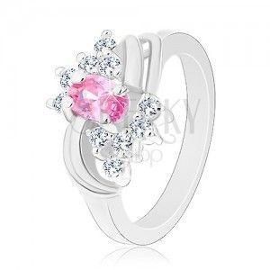 Błyszczący pierścionek srebrnego koloru, różowy owal, przezroczyste cyrkonie obraz