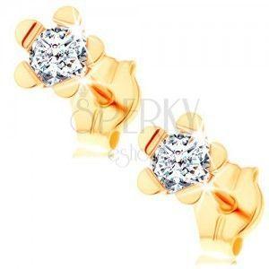 Kolczyki z żółtego 14K złota - błyszczący kwiatek o lśniących płatkach obraz