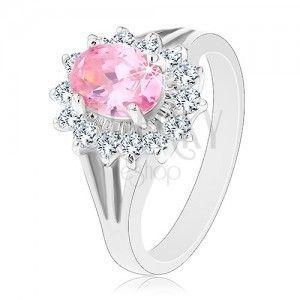 Pierścionek z cyrkoniowym kwiatem różowego i bezbarwnego koloru, rozdzielone ramiona obraz