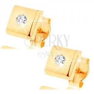 Kolczyki z żółtego 14K złota - lśniące kwadraciki, cyrkonie bezbarwnego koloru obraz