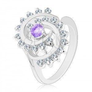 Błyszczący pierścionek z ozdobną spiralą w przezroczystej oprawie, jasnofioletowa cyrkonia obraz