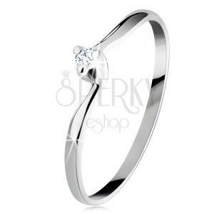 Zaręczynowy pierścionek z białego 14K złota - przezroczysty wyszlifowany diament, wąskie ramiona obraz