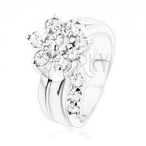 Pierścionek srebrnego koloru, błyszczący kwiatek z przezroczystych cyrkonii, rozdzielone ramiona obraz