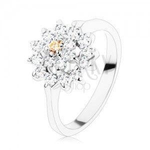 Pierścionek - srebrny odcień, kwiat bezbarwnego i jasnobrązowego koloru, cyrkoniowa oprawa obraz