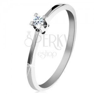 Pierścionek z białego 14K złota - cienkie lśniące ramiona, błyszczący przezroczysty diament obraz