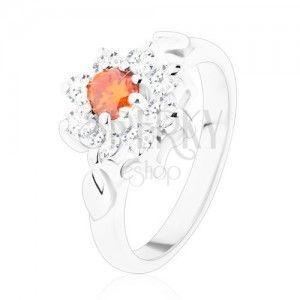 Połyskliwy pierścionek z kwiatkiem i listkami, cyrkonie pomarańczowego i bezbarwnego koloru obraz