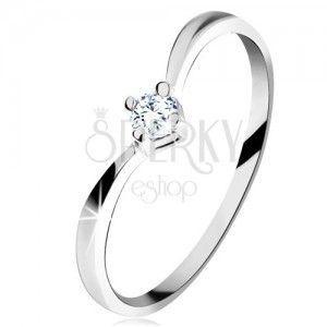 Złoty pierścionek 585 - lśniące zagięte ramiona, błyszczący wyszlifowany diament bezbarwnego koloru obraz