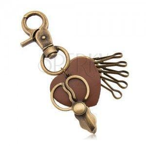 Patynowana zawieszka na klucze, mosiężny odcień, nożyczki i brązowe serduszko obraz