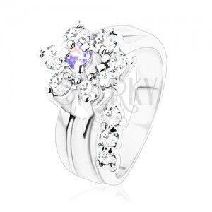 Błyszczący pierścionek, zagięta łodyga, cyrkoniowy kwiat jasnofioletowego i bezbarwnego koloru obraz