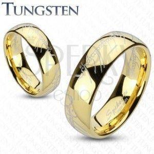 Obrączka Tungsten, zaokrąglona powierzchnia złotego koloru, motyw Władcy Pierścieni, 6 mm obraz