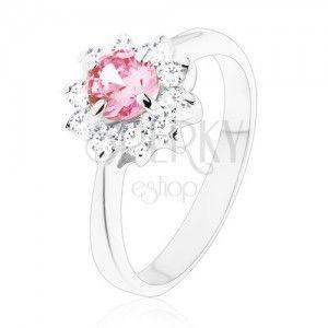 Lśniący pierścionek z cyrkoniowym kwiatkiem różowego i bezbarwnego koloru, zwężone ramiona obraz