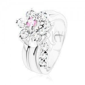 Pierścionek o gładkich ramionach, cyrkoniowy kwiatek różowego i bezbarwnego koloru obraz