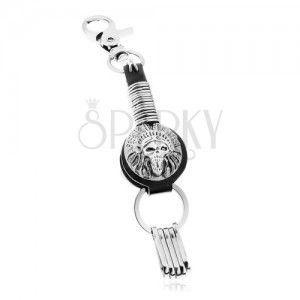 Patynowa zawieszka na klucze, symbol indiańskiej opaski z czaszką, kółka obraz