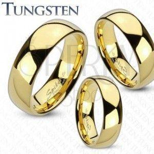 Tungstenowy pierścionek złotego koloru, lśniąca i gładka powierzchnia, 4 mm obraz