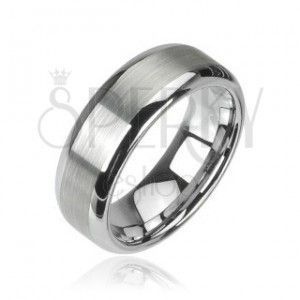 Wolframowy pierścionek srebrnego koloru, matowy środkowy pas i lśniące krawędzie, 8 mm obraz