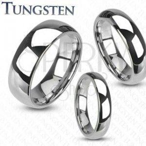 Wolframowy pierścionek - gładka lśniąca obrączka srebrnego koloru, 4 mm obraz