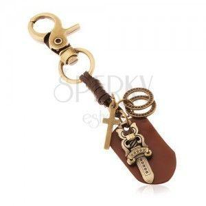 Patynowana zawieszka na klucze w mosiężnym odcieniu, miecz z gwiazdkami, kółka obraz