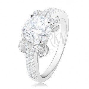 Zaręczynowy pierścionek ze srebra 925, okrągła cyrkonia bezbarwnego koloru, błyszczące pasy obraz