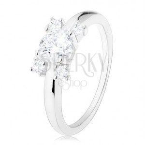 Zaręczynowy pierścionek - srebro 925, wąskie ramiona, okrągłe cyrkonie bezbarwnego koloru obraz