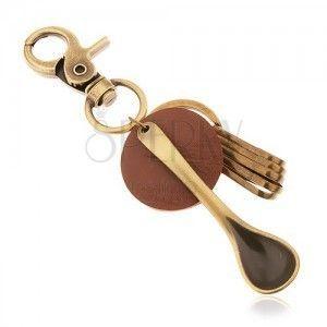 Zawieszka na klucze w mosiężnym odcieniu, kółko z brązowej sztucznej skóry, łyżeczka obraz