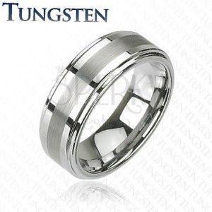 Pierścionek Tungsten w ciemnoszarym lśniącym odcieniu, wyszlifowany środkowy pas, 8 mm obraz