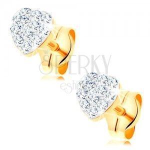 Kolczyki z żółtego 14K złota - błyszczące serduszko ozdobione kryształkami Swarovski obraz