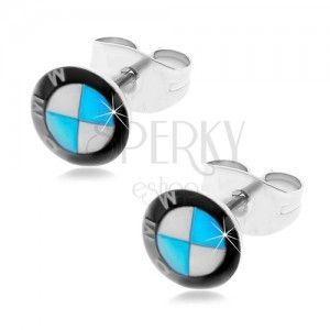 Okrągłe stalowe kolczyki - czarno-biało-niebieskie logo marki samochodu, wkręty obraz