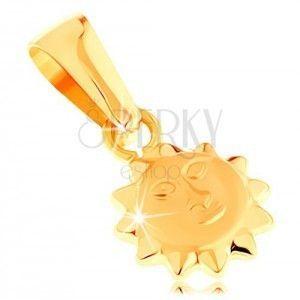 Zawieszka z żółtego 14K złota - lśniące wypukłe słoneczko z twarzą obraz