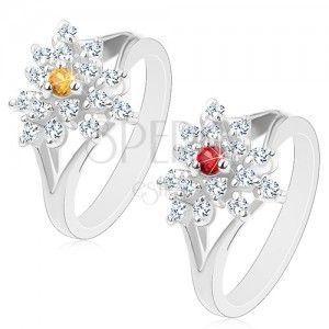 Błyszczący pierścionek z rozdzielonymi ramionami, przezroczysty cyrkoniowy kwiatek, barwny środek obraz