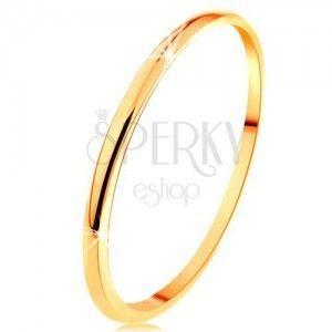Cienka obrączka z żółtego 14K złota, gładka i lekko wypukła powierzchnia obraz
