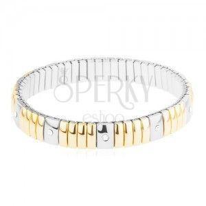 Stalowa bransoletka złotego i srebrnego koloru, wąskie i szerokie prostokąty, przezroczyste cyrkonie obraz