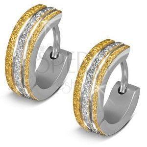 Okrągłe kolczyki ze stali 316L - błyszcząca powierzchnia złotego i srebrnego koloru obraz