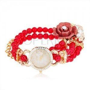 Zegarek analogowy, czerwona bransoletka z koralików, cyferblat z cyrkoniami, róża obraz