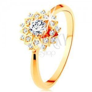 Złoty pierścionek 585 - błyszczące słońce ozdobione okrągłymi przezroczystymi cyrkoniami obraz