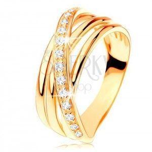 Pierścionek z żółtego 14K złota - trzy gładkie pasy, ukośna cyrkoniowa linia obraz