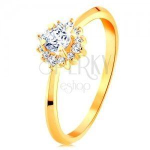 Złoty pierścionek 585 - błyszczący kwiatek z przezroczystych cyrkonii, cienkie lśniące ramiona obraz