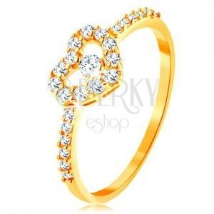 Złoty pierścionek 585 - cyrkoniowe ramiona, błyszczący przezroczysty zarys serca z cyrkonią obraz