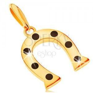 Zawieszka z żółtego 14K złota, symbol szczęścia - podkowa w czarne kropki obraz