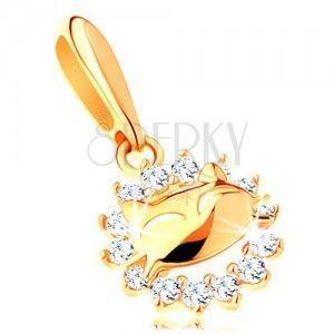 Błyszcząca zawieszka z żółtego 14K złota - cyrkoniowy kontur koła, kotek obraz