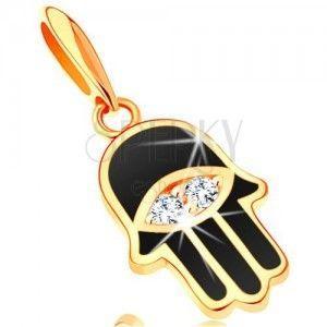 Zawieszka z żółtego 14K złota - ręka Fatimy pokryta czarną emalią, oko obraz