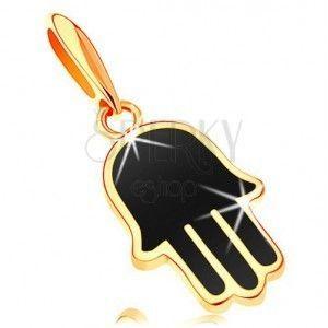 Zawieszka z żółtego 14K złota - ręka Hamsa pokryta czarną emalią obraz